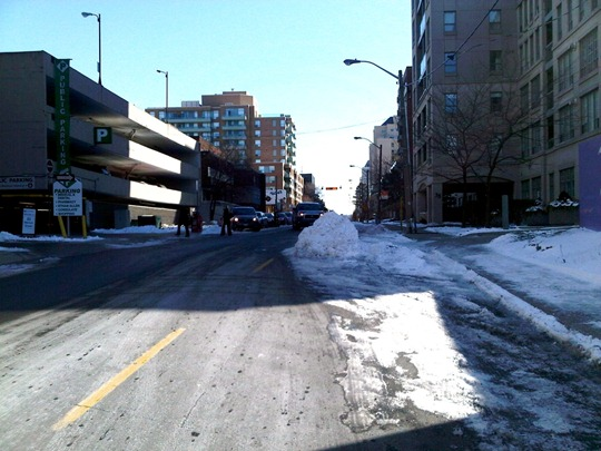 Toronto traffic calming snow bump-out