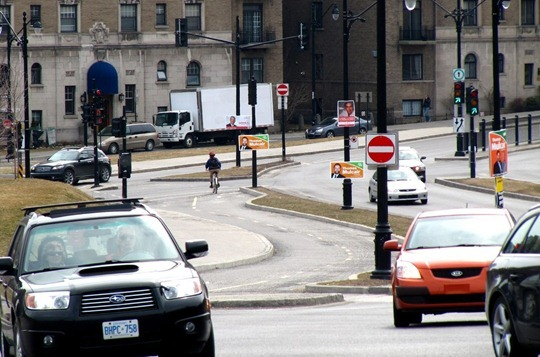 Cars and cycle path in Montreal