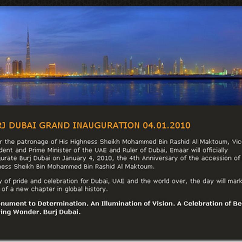 La Entrega Oficial de la Burj Dubái será el 4 de Enero del 2010