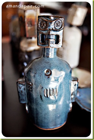 blue-robot-bottle-custom-pottery
