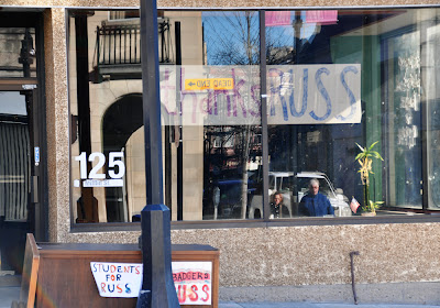 ''Thanks Russ'' window in Madison