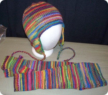 stripey hat and armwarmers