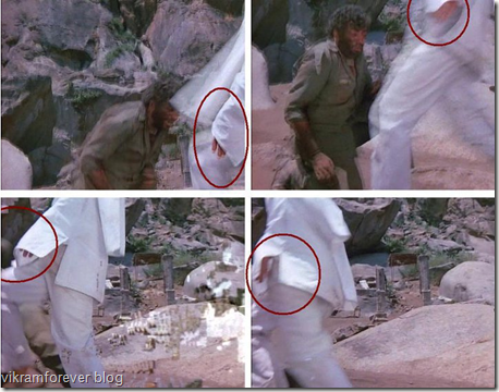 Thakurs hand visible in sholay movie