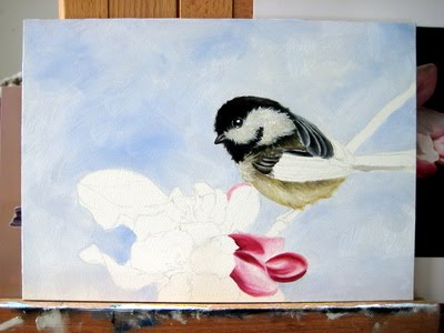 chickadee watercolour painting