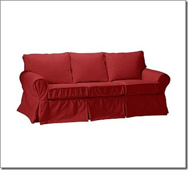 red pottery barn sofa