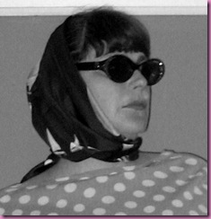 bw head scarf glasses