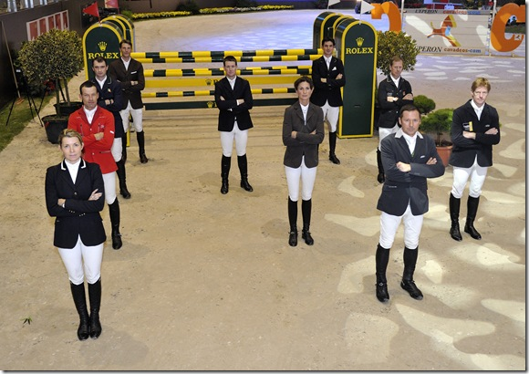 The riders who will compete in the Rolex IJRC Top Ten Final in Geneva on Friday 10th December.  From front left- Edwina Alexander,Pius Schwizer, Denis Lynch, Kevin Staut  From front right- Eric Lamaze,Penelope Leprevost, McLain Ward, Steve Guerdat, Rolf-Goran Bengtsson, Marcus Ehning