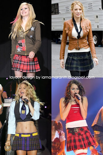 Miley cyrus plaid skirt