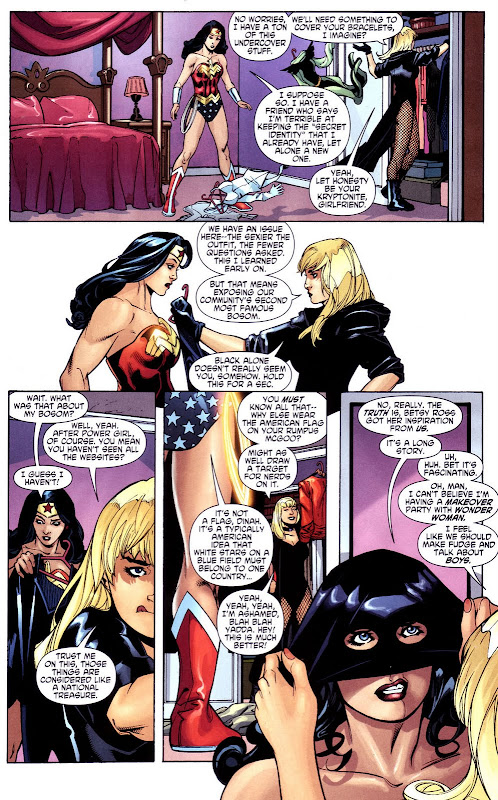 Wonder Woman #34 Birds of Paradise: Diana and Dinah aka Black Canary discuss Power Girl and Boob power