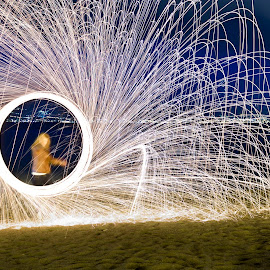 Playing with Fire by Anthony Cassar Aveta - Abstract Light Painting ( exposure, messina, girl, steelwool, long exposure, night, beach, long, steel, wool, fire,  )
