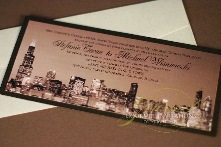 Stefanie Michael Chicago Custom Wedding Invitations Gourmet