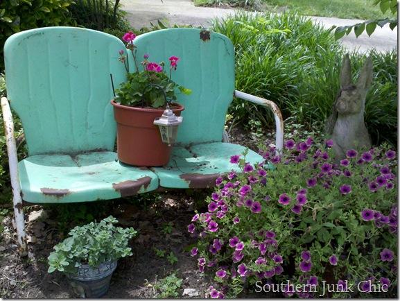 Southern Junk Chic Glider Yard art