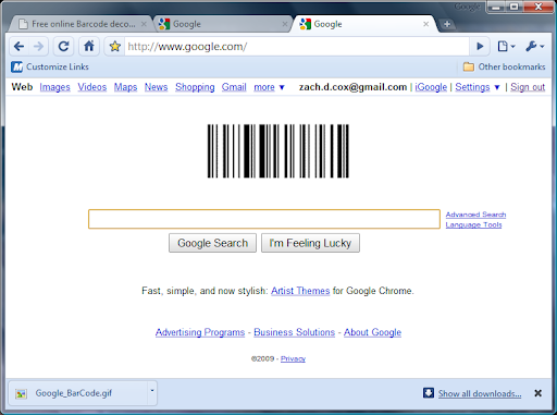 google barcode logo. the normal Google logo