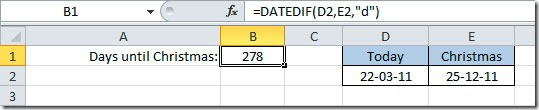 Excel difference between two dates
