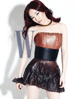 Brown eyed girl Ga-in goes long haired and kinky for W magazine Korea