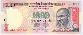 Image of 1000 Rupees Notes Indian Currency