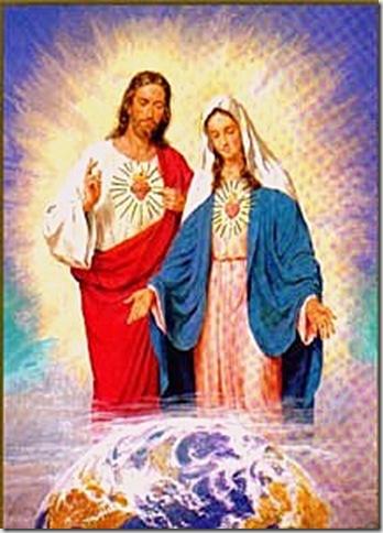 Jesús acompañado de su Madre la Bella María cuidan el mundo