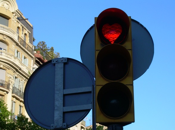 semáforo en corazón-rojo, Barcelona