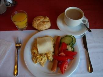 primer plato del desayuno, Hotel Aqua