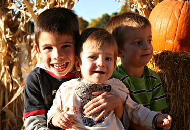 Boys at Pumpkin Patch