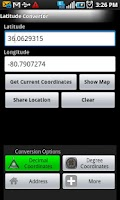 Screenshot of Longitude Latitude Convertor