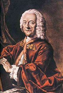 Georg Philipp Telemann (1681-1767), hand-colored aquatint by Valentin Daniel Preisler, after a lost painting by Louis Michael Schneider, 1750.
