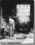 Faust, etching by Rembrandt (c. 1650)