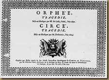 Title page of the scores for Louis Lully's Orphée and Henri Desmarets' Circé, published by Philidor in 1703