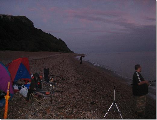 Beach fishing at Seaton, Devon (in the rain!)