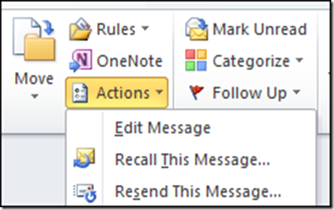 how to recall message from outlook live