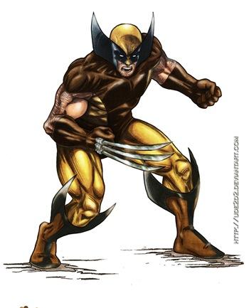Wolverine a color sobre lápiz