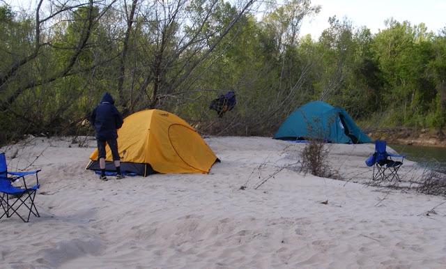 Perfect sandbar for camping