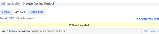 VCS Root successfully configured