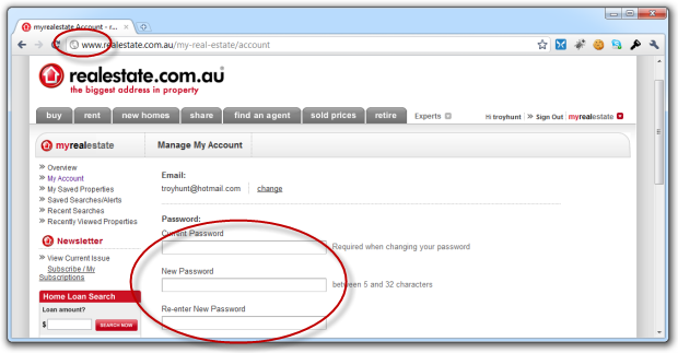 Realestate.com.au password change screen
