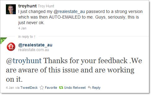 Realestate.com.au tweeting about working on the password issue