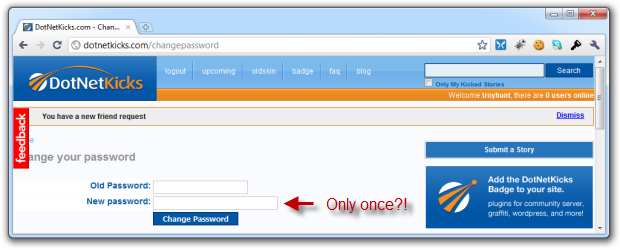 DotNetKicks only requiring new password to be entered once