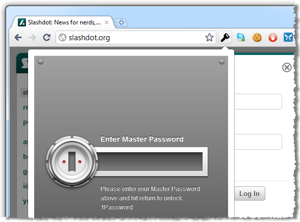 Entering the master password in 1Password to logon