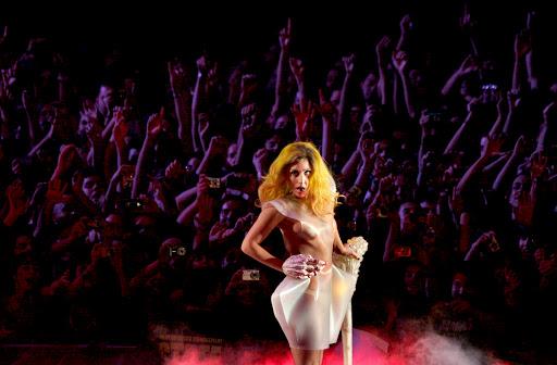 B51. BARCELONA, 07/10/2010. La cantante neoyorquina Lady Gaga, durante su actuaci—n esta noche en el concierto que ha ofrecido en el Palau Sant Jordi de Barcelona, incluido en su