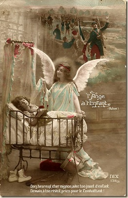 angel guarding baby in crib