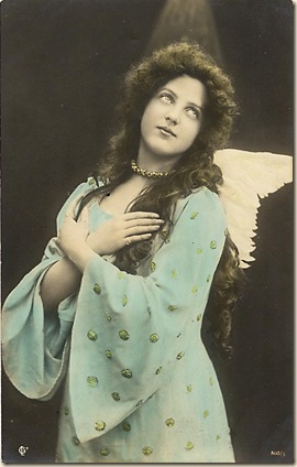 angel lady dressed as angel in aqua gown