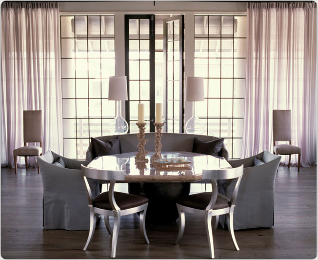designs blog by laura jens sisino settees at the dining table