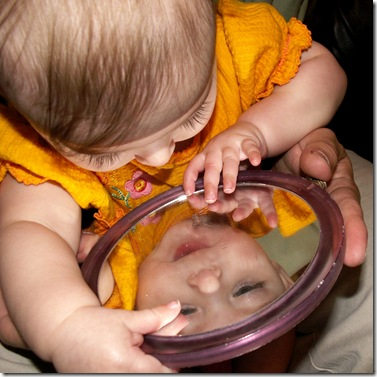 Elaine 7 months with mirror