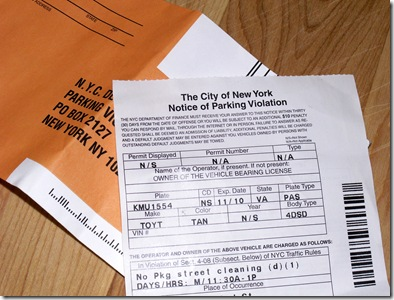 First NYC parking ticket