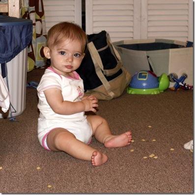 Elaine 8 months Cheerio fiend