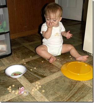 Elaine 8 months dumped cheerios