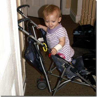 Elaine 10 months in Stroller