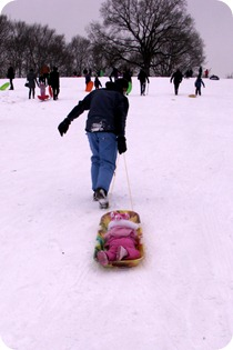 Elaine's first sledding trip