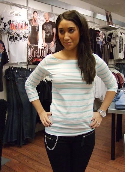 Rut m.fl randig tröja 149 kr och Miss Sixty svarta jeans 1199 kr