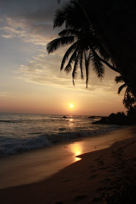 Sunset on the beach in Galle Sri Lanka