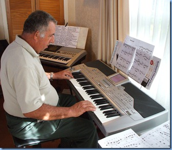 Committee member, Ken Mahy playing his Korg Pa1X